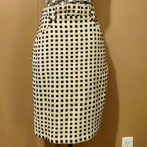 Anthro Eva Franco cream & black pencil skirt